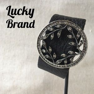 Lucky Brand Silver-Tone Pave Leaf & Leather Cuff
